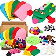 WATINC 6Pcs Hand Puppet Making Kit for Kids Art Craft Felt Sock Puppet Creative DIY Make Your Own Puppets Pomp