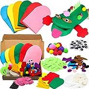 WATINC 6Pcs Hand Puppet Making Kit for Kids Art Craft Felt Sock Puppet Creative DIY Make Your Own Puppets Pomp