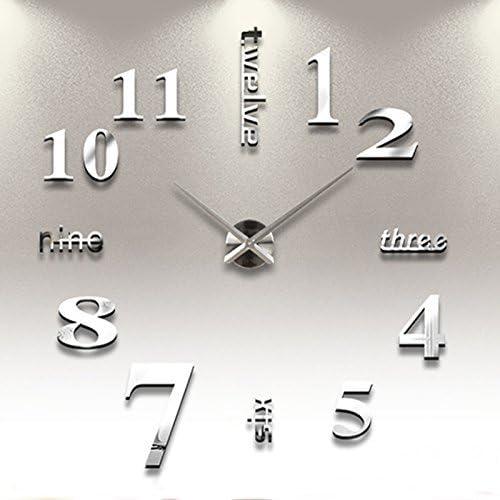 Reloj de Pared 3D con Números Adhesivos DIY Bricolaje Moderno Decoración Adorno para Hogar Habitación Plateado