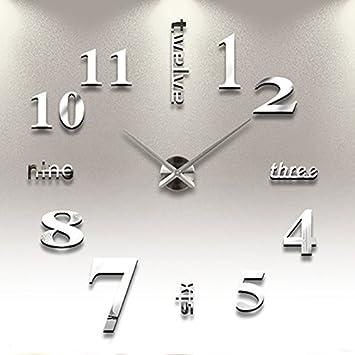 reloj de pared d con nmeros adhesivos diy bricolaje moderno decoracin adorno para hogar habitacin