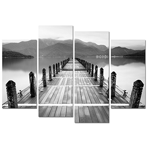 Covered Bridge Picture (Sea Charm- Black and White Landscape Wall Art,Lake Scenery Painting Peaceful Decor,Contemporary Artwork for Home and Office Decor,Wood Bridge Pictures Gallery Wrapped for Wall Decal)