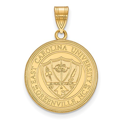 - Jewelry Stores Network East Carolina University Pirates School Crest Pendant Gold Plated Silver L - (19 mm x 18 mm)