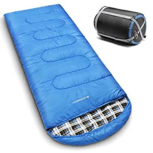 NORSENS 0 Degree Celsius Cold Weather Sleeping Bag for Camping, Backpacking, Hiking. Large Outdoor Compact Sleeping Bags with Compression Sack for Adults. 90.5 x 32.6 inch (Hot Blue)
