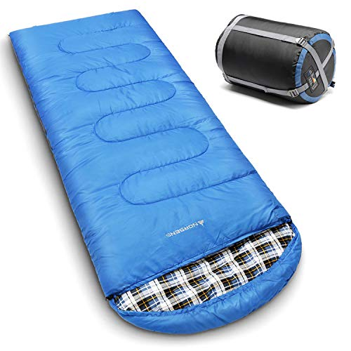 NORSENS 0 Degree Celsius Cold Weather Sleeping Bag for Camping, Backpacking, Hiking. Large Outdoor Compact Sleeping Bags with Compression Sack for Adults. 90.5 x 32.6 inch (Hot Blue) for $<!--$39.99-->
