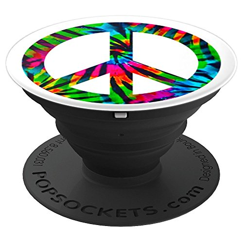 Funky 70s Peace Sign - TrendyGrips Peace Sign Tie Dye Die Groovy Funky 70s - PopSockets Grip and Stand for Phones and Tablets
