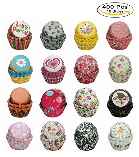 [Paper-Baking-Cups SophieBella 400 pcs 16-Styles Cupcake-Liner for Holiday Party] (Halloween Cupcake Ideas Kids Decorate)