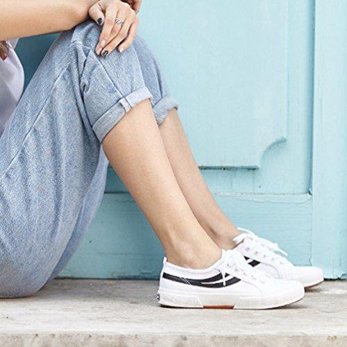 Blanc en Plate de Casual Basse Chaussure Femme de Été Printemps Chaussure Légère Respirante Ville Toile Marche Homme XaRxqw1