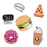 Cartoon Enamel Ice Cream Hamburgers Food Coffee Pin Set Brooches Patches Backpacks