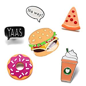 Cartoon Enamel Ice Cream Hamburgers Food Coffee Pin Set Brooches Patches Backpacks