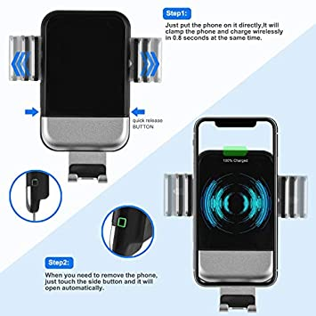 Wireless Car Charger,10W Qi Fast Charging Auto-Clamping Car Mount,Windshield Dashboard Air Vent Phone Holder Compatible with iPhone Xs MAX XS XR X 8 8 , Samsung S10 S10 S9 S9 S8 S8