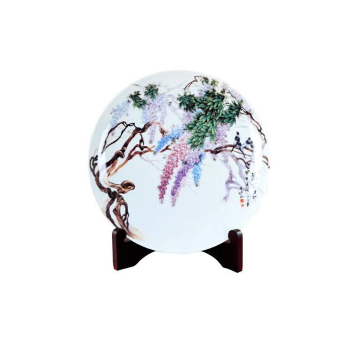 8HAOWENJU 花瓶の装飾、景徳鎮セラミックプレート、装飾的なプレート磁器の装飾品、工芸品、中国のリビングルームポーチ吊りプレート 中華風 (Color : Multi-colored) B07SVWSNWG Multi-colored