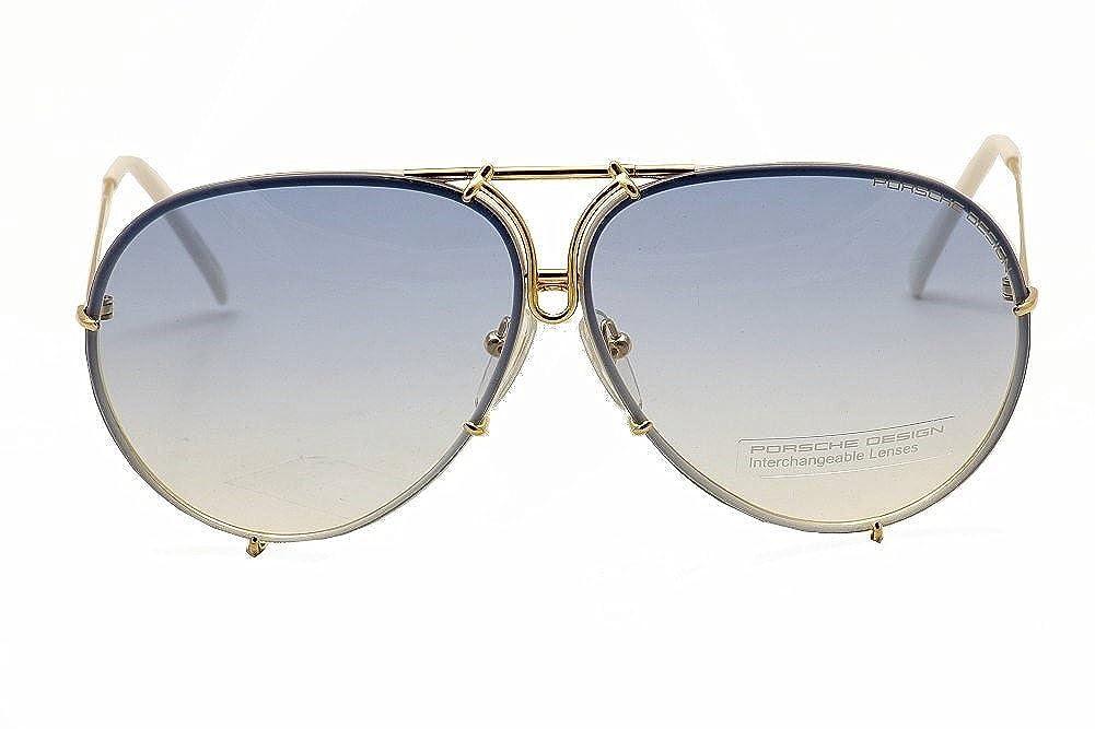 82e0fa835984 Amazon.com  Porsche Design P8478 W Gold Aviator Sunglasses 60mm Extra  Lenses  Clothing