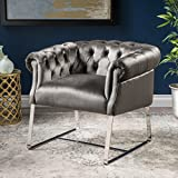 Mika Modern Tufted Grey Velvet Club Chair with Chrome Finished Stainless Steel Frame