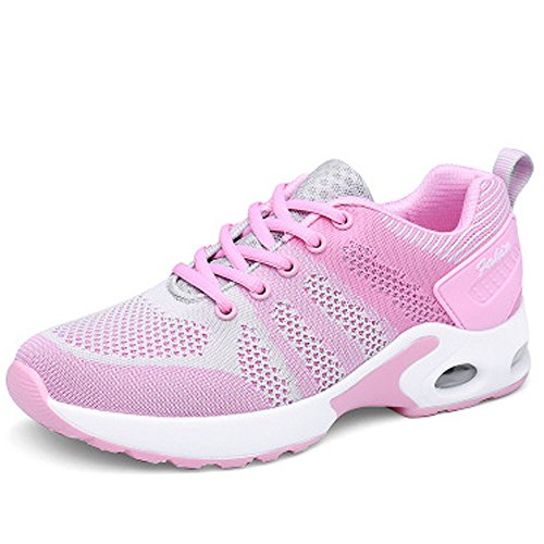 Shoes Shock Ladies Grey Absorbing Running Jogging Fitness Shoes Running Air Lightweight up Sports Pink Trainer Gym Trainers Lace Women's Bqga1wRx