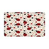 InterestPrint Ladybugs and Dots Indoor Doormat Latex Backing Non Slip Door Mat Entrance Rug 30''(L) x 18''(W)