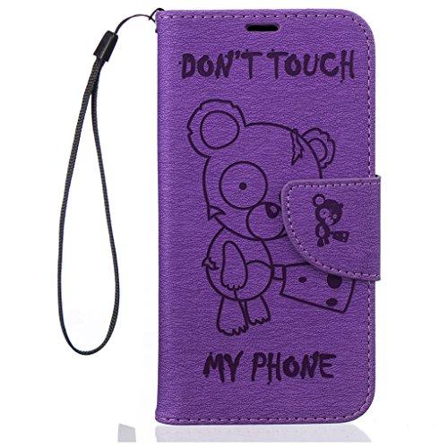 Trumpshop Smartphone Carcasa Funda Protección para Google Pixel XL (5.5 Pulgadas) + Dont Touch My Phone (Bebe oso) Rojo + PU Cuero Caja Protector Billetera con Choque Absorción Púrpura
