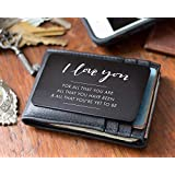Wallet Insert I Love You Note, Perfect Anniversary Gifts for Him, Metal Engraved Wallet Card
