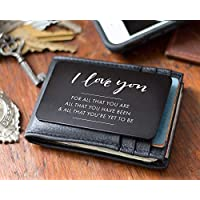 Engraved Wallet Insert For Husband - I Love You Note, Perfect Anniversary Gifts for Him, Metal Engraved Wallet Card