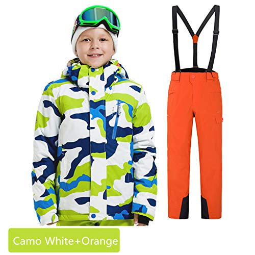 (Boys Girls Waterproof Ski Suit Kids Hooded Snowboard Jacket Pants Set Windproof Snowboarding Snow Suit Coat for Child (Camo White+Orange, US-8))