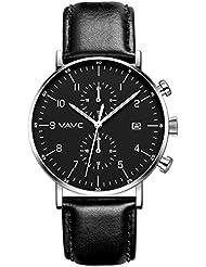 VAVC Mens Fashion Minimalist Casual Dress Black Leather Band Waterproof Quartz Analog Wrist Watch with Black...