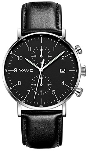 VAVC Men's Fashion Minimalist Casual Dress Black Leather Band Dual Time Quartz Analog Wrist Watch with Date and Black Dial
