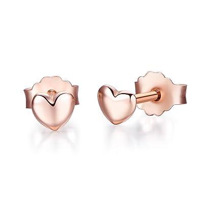 acheter pas cher prix favorable avant-garde de l'époque Boucles d'Oreilles Cœur Plaqué Or Rose Enfant Bijoux à Tige- Twenty Plus®-  pour Femme et Filles