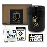 Buddy Dry Herb Half Oz Container Jar w/Humidity Preservation Pack (250 mL) Smell Proof, Airtight Lid | Heavy-Duty, UV-Resistant Glass | Keeps Coffee Grounds, Tea Leaves, Spices Fresh