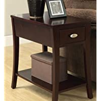 Corin espresso finish wood chair side end table with drawer and curved legs
