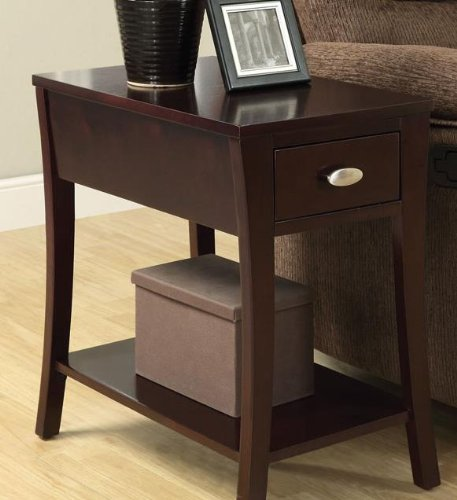 Cheap Corin espresso finish wood chair side end table with drawer and curved legs
