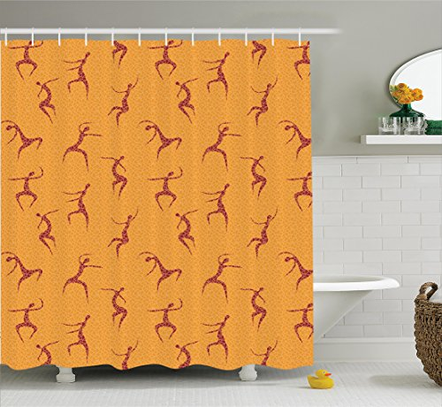 Ambesonne African Decorations Collection, Physical Anatomic Dancing African Man Figures above Fragmentary Tiles Boho Artwork, Polyester Fabric Bathroom Shower Curtain, 84 Inches Extra Long, Orange Red