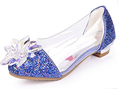 YOGLY Zapatos Para Niñas Princesa Zapatos Tacones Altos Baile Zapatos de Diamantes de Imitación de Niña Azul