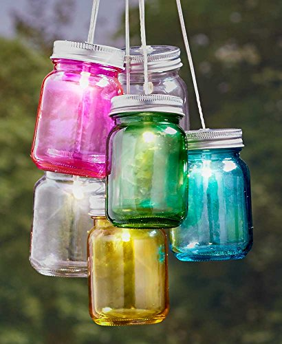 The Lakeside Collection Set of 6 Solar Mini Mason Jars