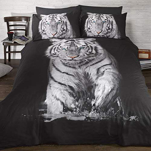 (Urban Unique White Tiger Printed Duvet Cover Bedding Set (Queen Bed) (Black/White))