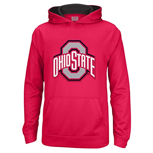 (J America NCAA Ohio State Buckeyes Kids & Baby Flat Top Arch Foundation Poly Hoodie, X-Large, Red/Black)