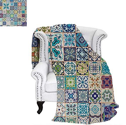 (Custom Design Cozy Flannel Blanket Floral Patchwork Design with Arabesque Figure Mediterranean Symbolic Artisan Work Weave Pattern Blanket 80