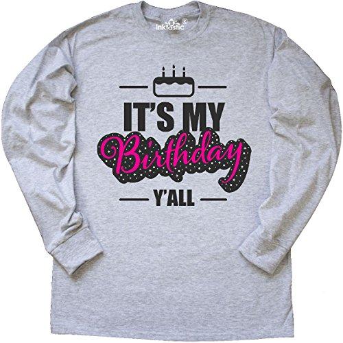 Yall Ash Grey T-shirt - inktastic - Its My Birthday Yall Long Sleeve T-Shirt XXX-Large Ash Grey 2e960