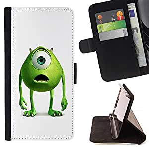 DEVIL CASE - FOR HTC One M7 - Friendly Green Monster - Style PU Leather Case Wallet Flip Stand Flap Closure Cover