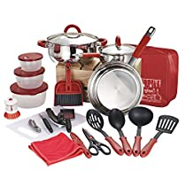 Veica,Highly Durable,23 Pieces Stainless-Steel Cookware Set,Kitchen Gadgets,Red