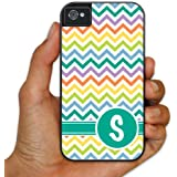 iPhone 4 4s BruteBox #8482; Case - Monogram  quot;S quot; with Chevron Stripe Background- 2 Part Rub