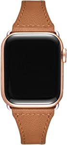 Slim Leather Bands Compatible with Smartwatch 38mm 40mm 42mm 44mm, Genuine Leather Replacement Wristband for Smartwatch Series 5, Series 4/3/2/1 (Brown+Rose Gold Connector, 38mm 40mm)