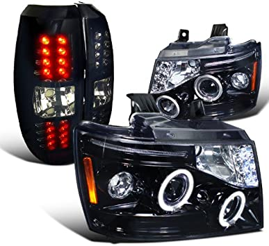 2007-2012 Chevy Avalanche Glossy Black Dark Smoke Lens LED Lamps Tail Lights