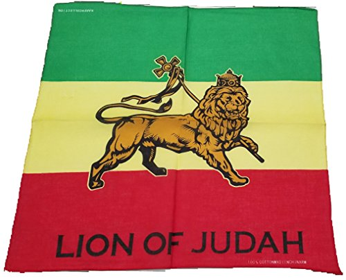 (BUNFIREs Lion of Judah Flag Bandana Head Wrap Caribbean Rasta Reggae Rastafari Ethiopia Pride)
