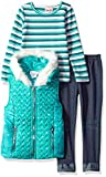 Little Lass Little Girls' 3 Pc Chevron Puffer Vest Set, Emerald, 5
