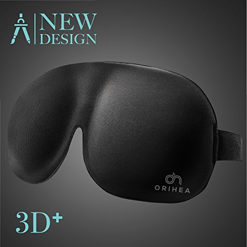 New Sleep Mask for Woman and Man, 3D Plus Eye Mask & Blindfold, Larger and Deeper Comfortable Sleeping Mask, Upgrade Total Blackout Eye Cover (Black Plus)