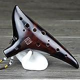 Torontoo Professional Dragon Rythem 12 Hole Alto C Smoked Ceramic Ocarina+ocarina Bag+music Book (Smoked Ceramic Ocarina)