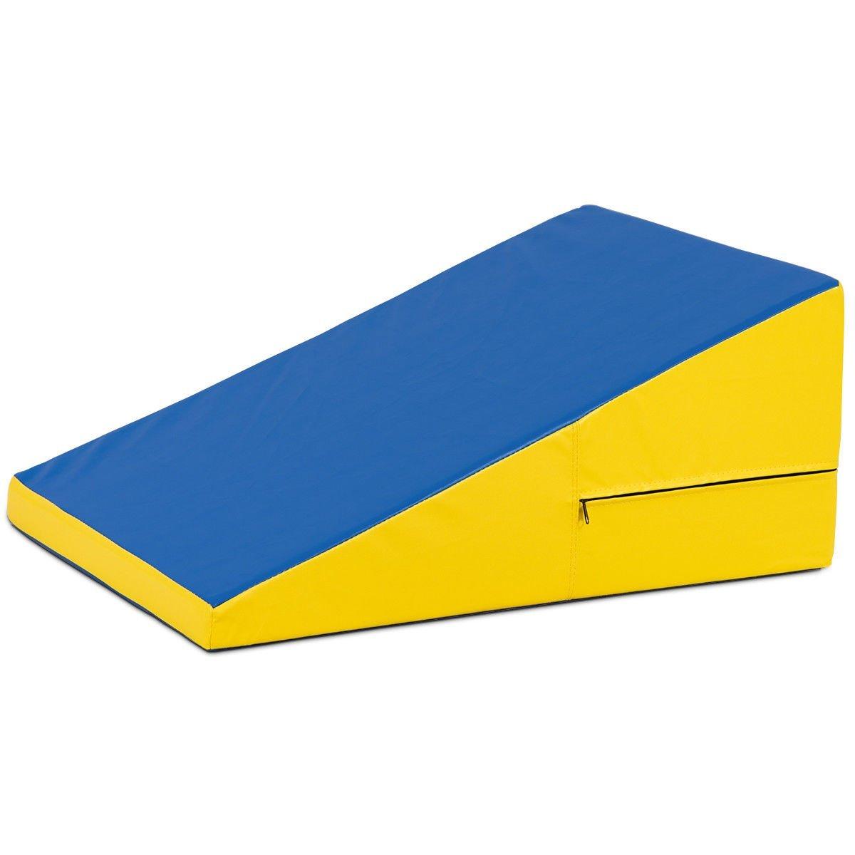 Giantex Incline Gymnastics Mat Wedge Folding and Non-Folding Gymnastics Gym Fitness Skill Shape Tumbling Mat for Kids Play Home Exercise Aerobics (Blue/Yellow/Non-Folding)