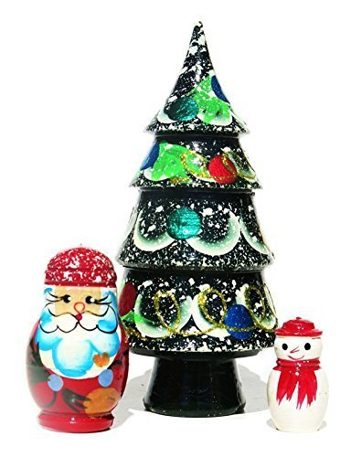 christmas tree 3 piece russian nesting doll santa snowman matryoshka present by greatrussiangifts