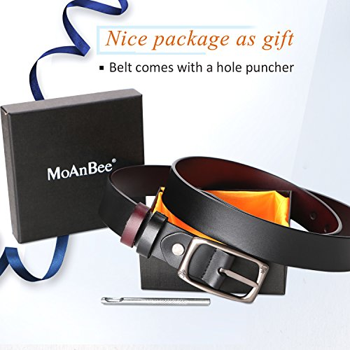 Black Brown Ladies Belt with Alloy Metal Buckle, 1.1in width Cowhide Leather Belt for Jeans Shorts Pants Dress by MoAnBee