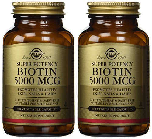 100 Vegetable Capsules Mcg (Solgar – Biotin 5000 mcg, 100 Vegetable Capsules, 2 Pack – Supports Healthy Skin, Nails and Hair)