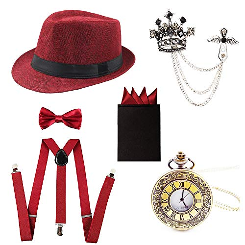 1920s Trilby Manhattan Fedora Hat,Suspenders Y-Back Trouser Braces,Pre Tied Bow Tie,Pocket Scarf£¬Pocket Watch Red ()